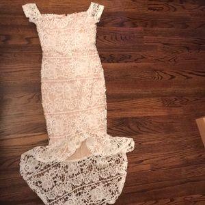 White bardot lace fishtail midi dress